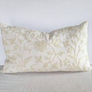 White on White Crewel Bolster