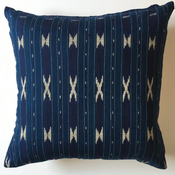 Indigo Ikat Throw Cushion